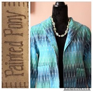 Painted Pony Vintage Tapestry Linen Crop Jacket S